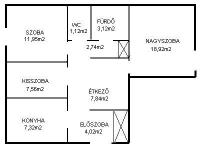 Budapest IV. ker 65m2 1+2 fél szobás 1/2 társasházi lakás rész eladó ingatlan hirdetéshez feltöltött kép